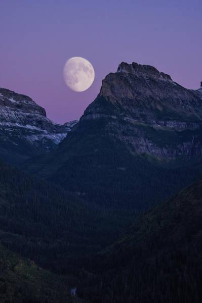 Photograph - Glacier Park Moon, Montana by Jedediah Hohf