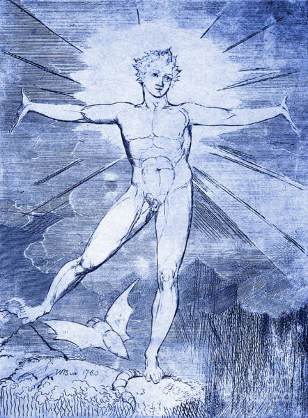 Light Blue Drawing - Glad Day By William Blake by William Blake