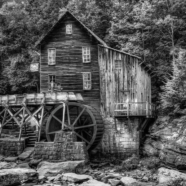 Photograph - Glade Creek Grist Mill 1x1 Black And White - West Virginia  by Gregory Ballos