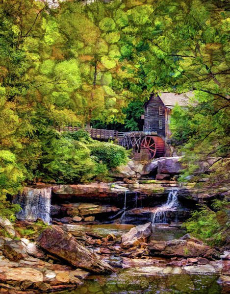 Babcock Photograph - Glade Creek Grist Mill 3 - Overlay by Steve Harrington