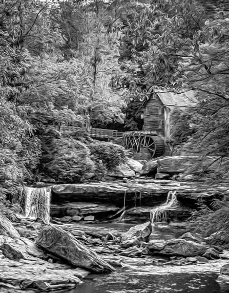 Wall Art - Photograph - Glade Creek Grist Mill 3 - Paint 2 Bw by Steve Harrington