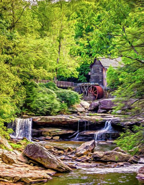 Wall Art - Photograph - Glade Creek Grist Mill 3 - Paint 2 by Steve Harrington