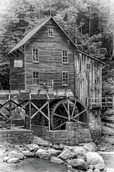Wall Art - Photograph - Glade Creek Grist Mill 5 Bw by Steve Harrington