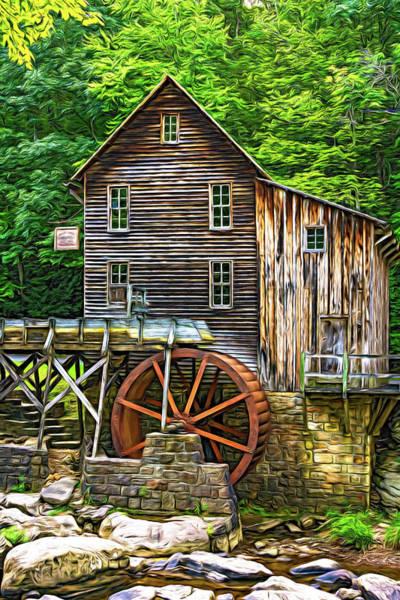Wall Art - Photograph - Glade Creek Grist Mill 6 - Paint by Steve Harrington