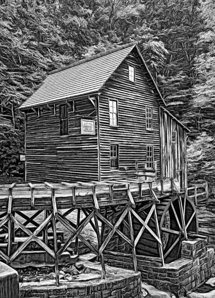 Wall Art - Photograph - Glade Creek Grist Mill 7 - Paint Bw by Steve Harrington