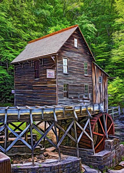 Wall Art - Photograph - Glade Creek Grist Mill 7 - Paint by Steve Harrington
