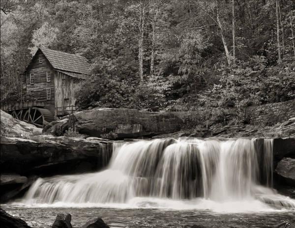 Glade Creek Grist Mill Monochrome Art Print