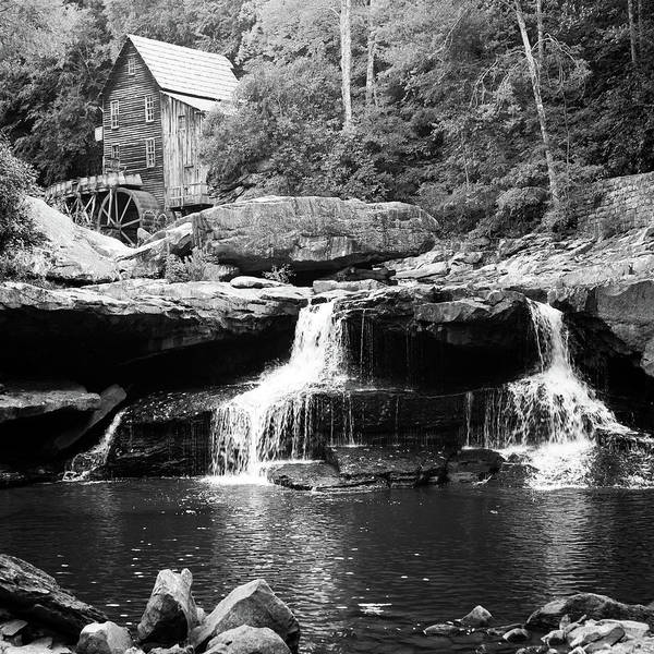 Photograph - Glade Creek Mill And Twin Waterfalls - Monochrome Square Format by Gregory Ballos