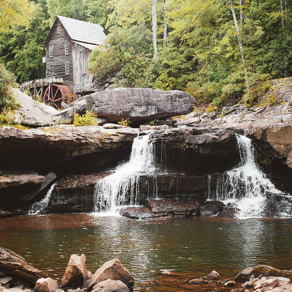 Photograph - Glade Creek Mill And Twin Waterfalls - Square Format by Gregory Ballos