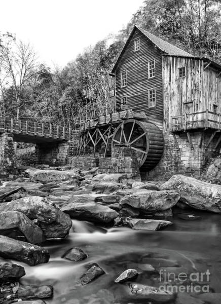 Babcock Photograph - Glade Creek Mill In Black And White by Norma Brandsberg