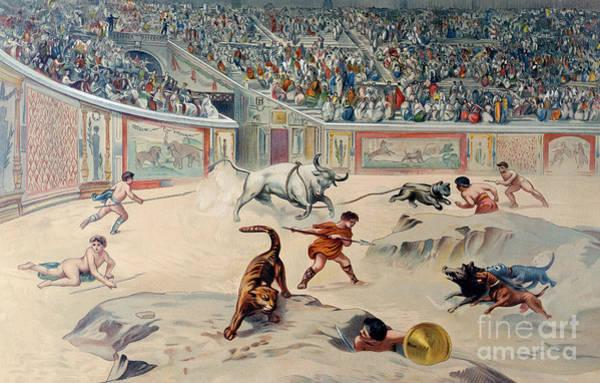 Arena Painting - Gladiators Fighting Animals In The Circus At Pompeii by Antonio Niccolini