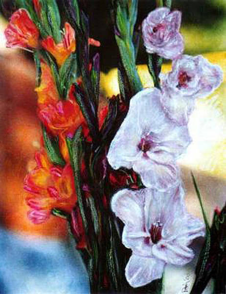 Mixed Media - Gladiolas by Banning Lary