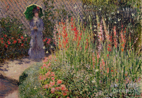 Exterior Painting - Gladioli by Claude Monet