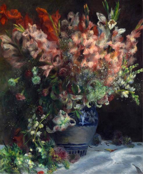 Gladiolus Painting - Gladioli In A Vase by Pierre Auguste