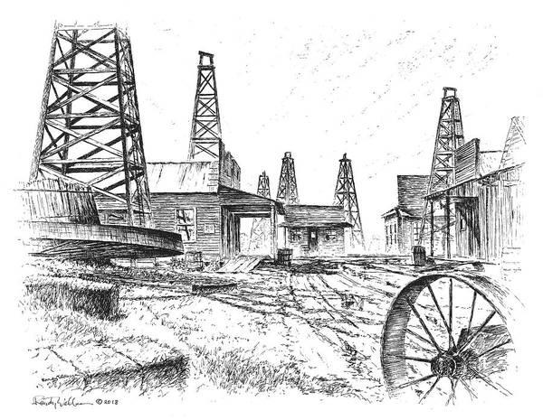 Drawing - Gladys City by Randy Welborn