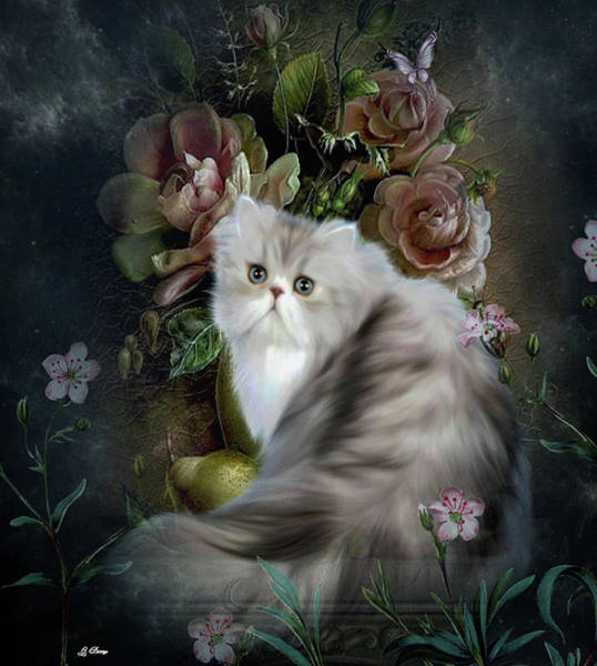 Champagne Mixed Media - Glamorous Cat 002 by G Berry