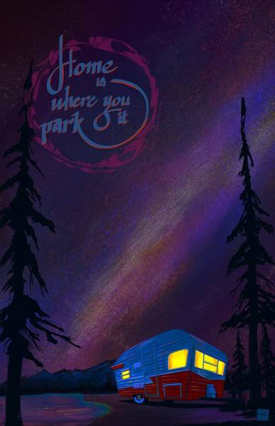 Camper Wall Art - Painting - Glamping Under The Stars by Sassan Filsoof