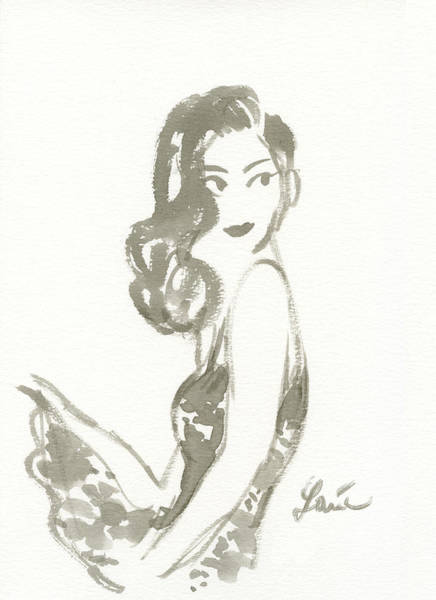 Fashion Drawing - Glance Over Shoulder by Louie del Carmen
