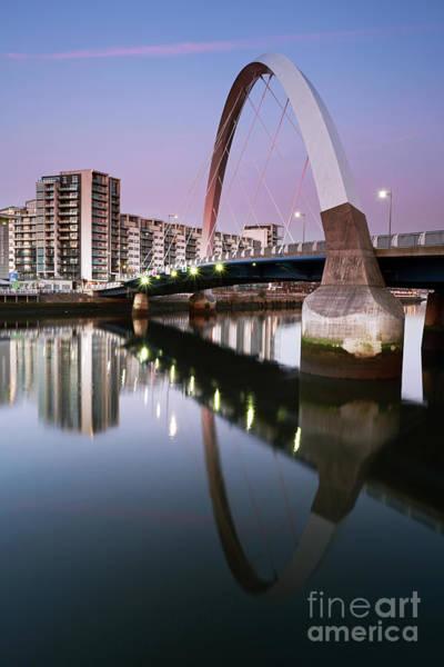 Photograph - Glasgow Clyde Arc Bridge At Sunset by Maria Gaellman