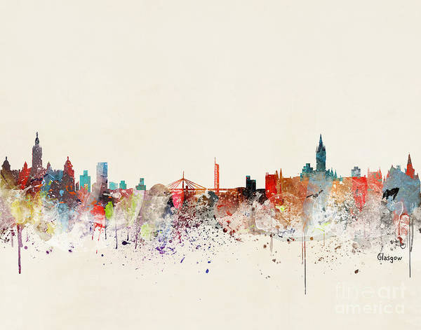 Wall Art - Painting - Glasgow Skyline  by Bri Buckley