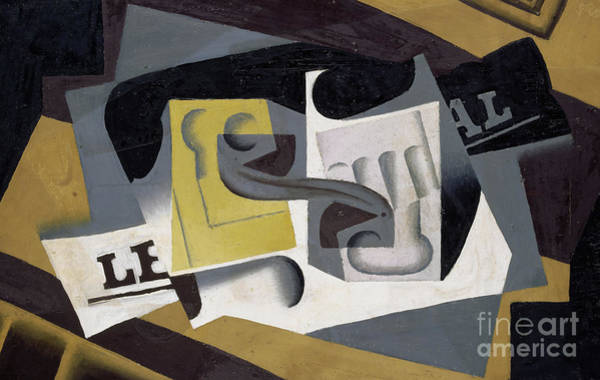 Wall Art - Painting - Glass And Newspaper, 1917 by Juan Gris