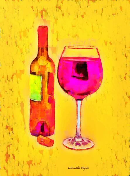 Cellar Digital Art - Glass And Wine - Da by Leonardo Digenio