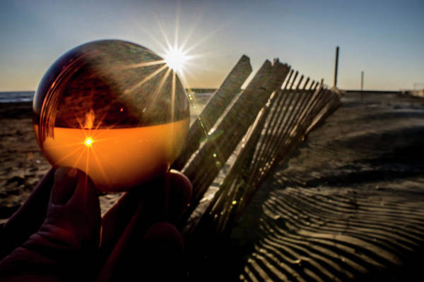 Photograph - Glass Ball At Sun Rise By Dunes Fence by Sven Brogren