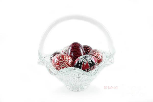 Photograph - Glass Basket Full Of Eggs by E B Schmidt