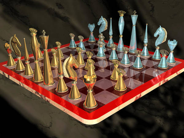 Photograph - Glass Chess Set Series 03 by Carlos Diaz