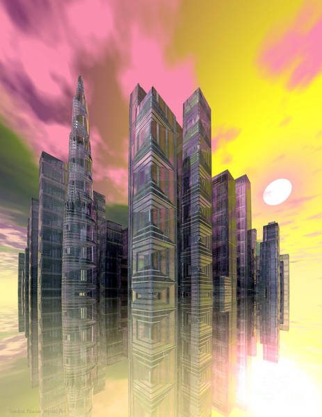 Wall Art - Digital Art - Glass City by Sandra Bauser Digital Art