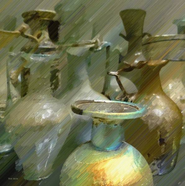 Digital Art - Green Antique Glass by Val Arie