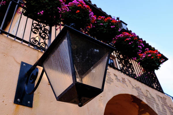 Glass Light Housing With Red Flower Architecture In Saint August Art Print