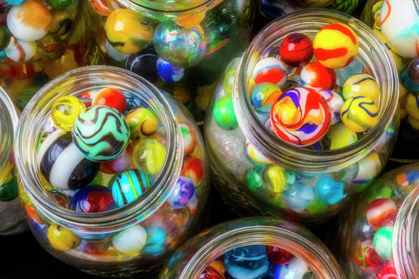 Wall Art - Photograph - Glass Marbles In Containers by Garry Gay