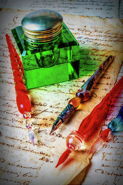 Ink Photograph - Glass Pens And Green Ink Well by Garry Gay