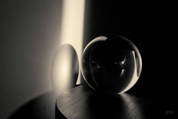 Photograph - Glass Sphere In Light And Shadow Toned by David Gordon