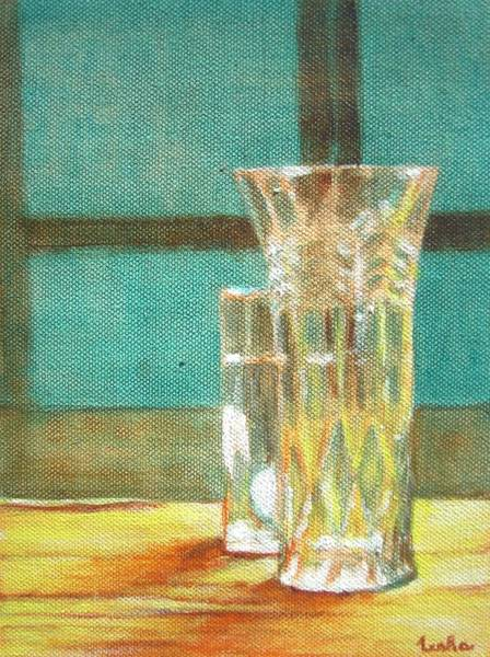 Usha Painting - Glass Vase - Still Life by Usha Shantharam
