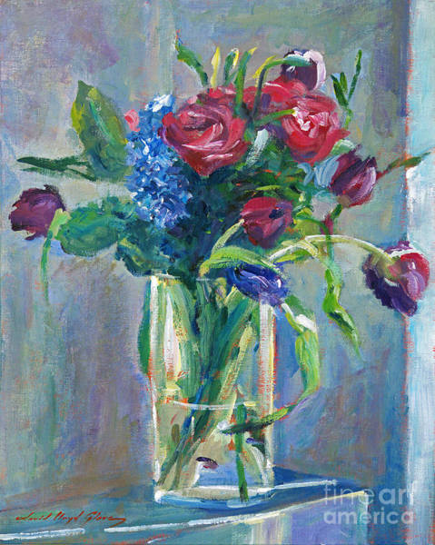 Cut Flowers Wall Art - Painting - Glass Vase On Sill by David Lloyd Glover