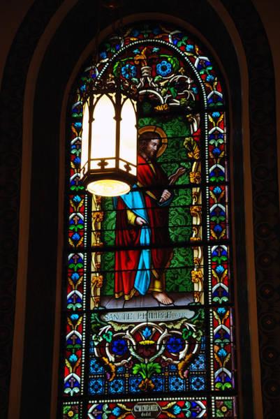 Photograph - Glass Window Of Saint Philip In The Basilica In Santa Fe  by Susanne Van Hulst