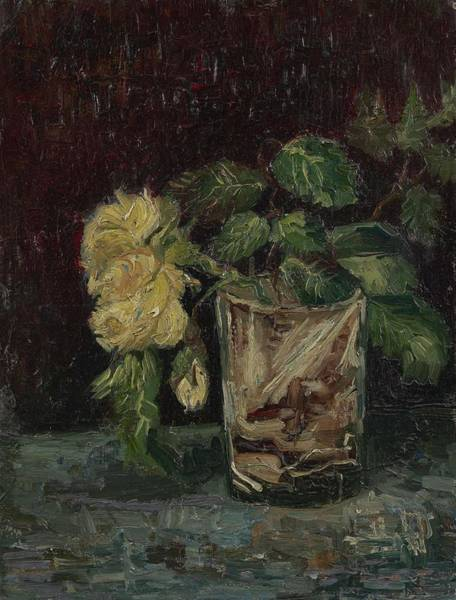 Painting - Glass With Yellow Roses Paris, June - July 1886 Vincent Van Gogh 1853  1890 by Artistic Panda