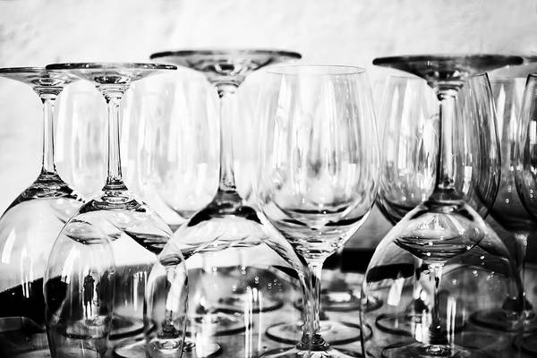 Wall Art - Photograph - Glasses On A Barrel In Mono by Georgia Fowler