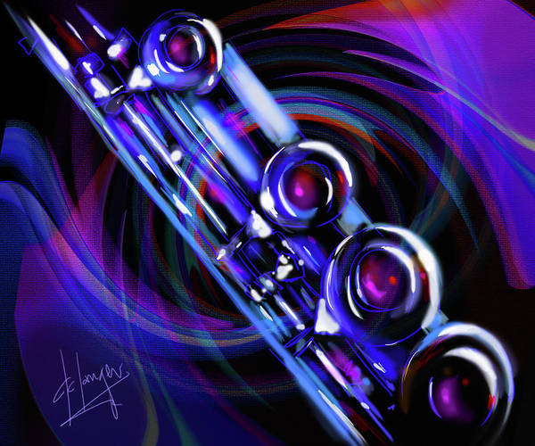 Sax Painting - Glassical Flute by DC Langer