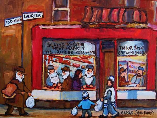 Painting - Glatts Kosher Meatmarket And Tailor Shop by Carole Spandau