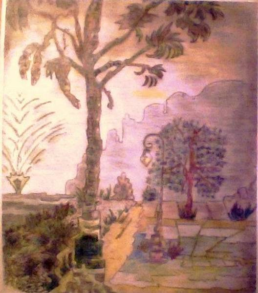 Beautiful Park Drawing - Gleason Park, Looking South by Della Turner