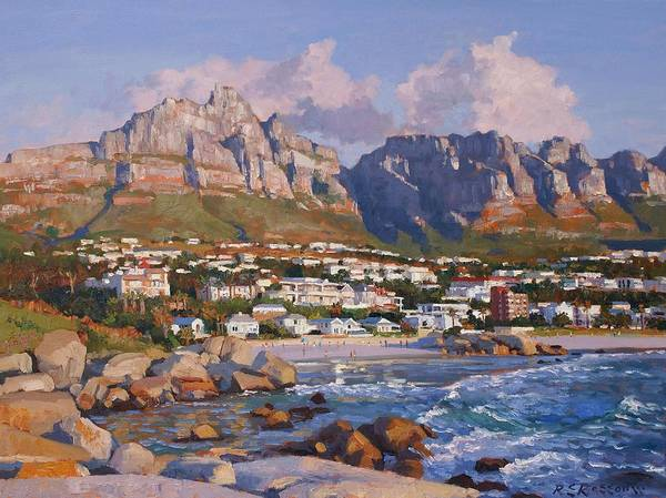 Table Mountain Wall Art - Painting - Glen Beach, Cape Town by Roelof Rossouw