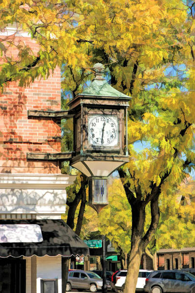 Painting - Glen Ellyn Corner Clock by Christopher Arndt
