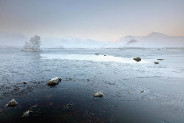 Photograph - Glencoe Frozen Misty Winter Sunrise by Grant Glendinning
