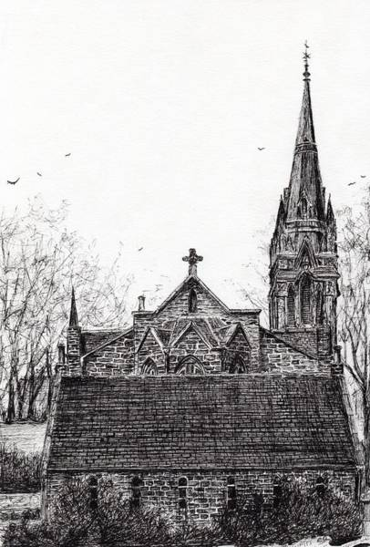 Church Of Scotland Wall Art - Drawing - Glenmuick Church by Vincent Alexander Booth
