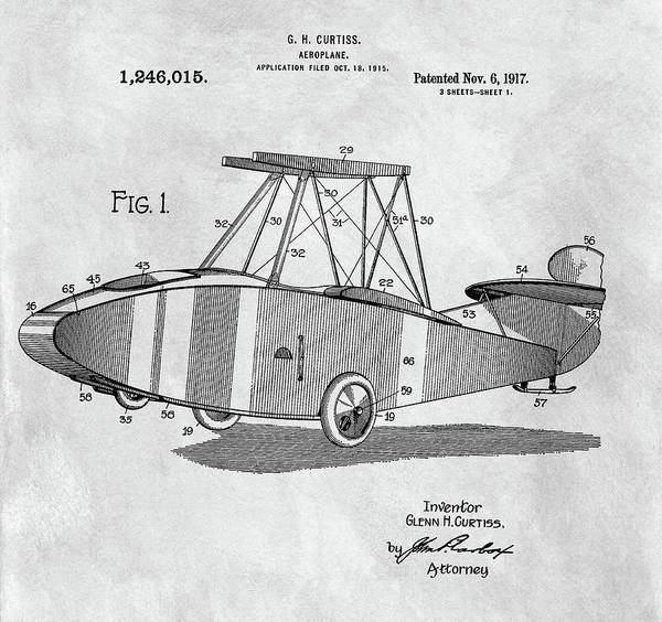 Vintage Airplane Drawing - Glenn Curtiss Airplane Patent by Dan Sproul