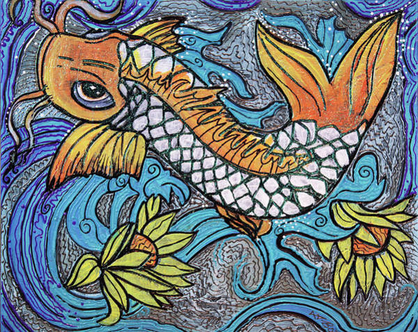 Wall Art - Painting - Glitter Fish by Laura Barbosa
