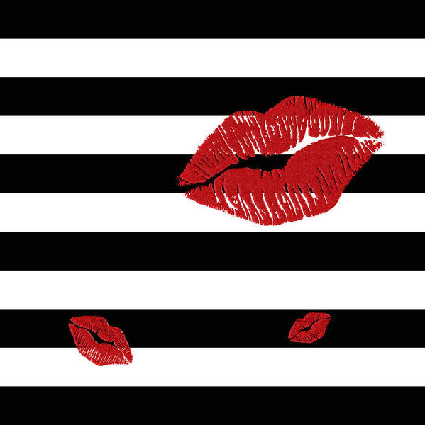 Glitter Red Lips On Black And White Stripes Art Print